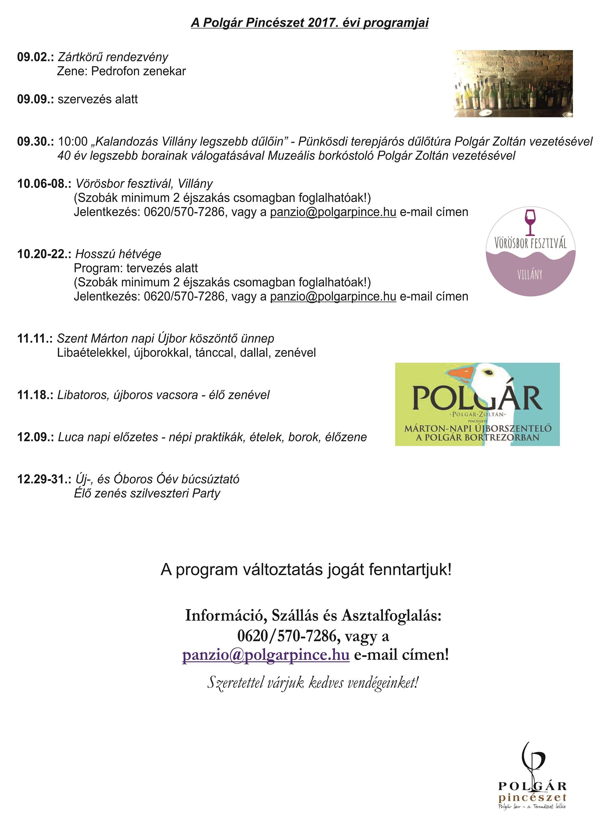 Polgár Pincészet 2017. évi programjai_2