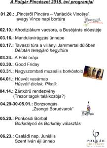 Polgár Pincészet 2018. évi programjai_1